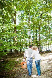 A couple waking on the hiking trail near Saugatuck, Michigan