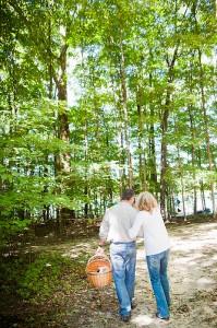 A couple waking on the hiking trail near Saugatuck, Michigan