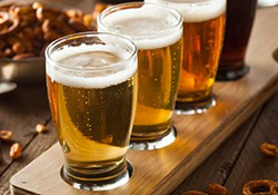 A beer tasting with four glasses of beer