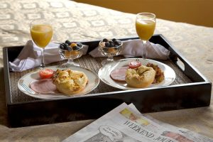 Breakfast for two served on a tray in room