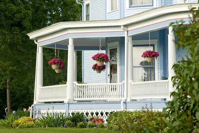 View of the Victorian porch at our Allegan bed and breakfast