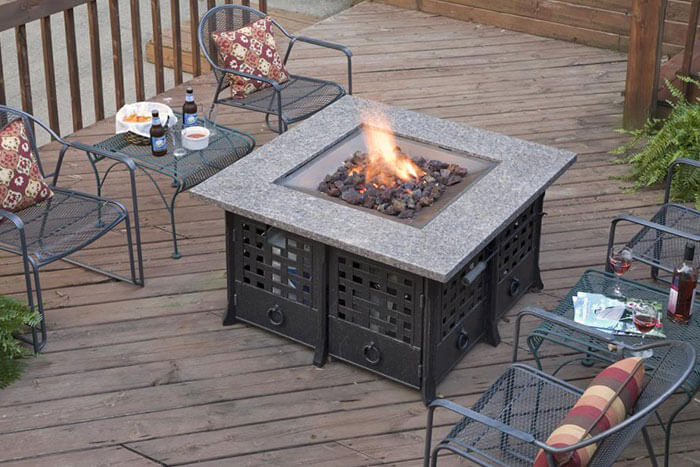 Firepit lit on the deck to stay warm during a Fall Weekend Getaway
