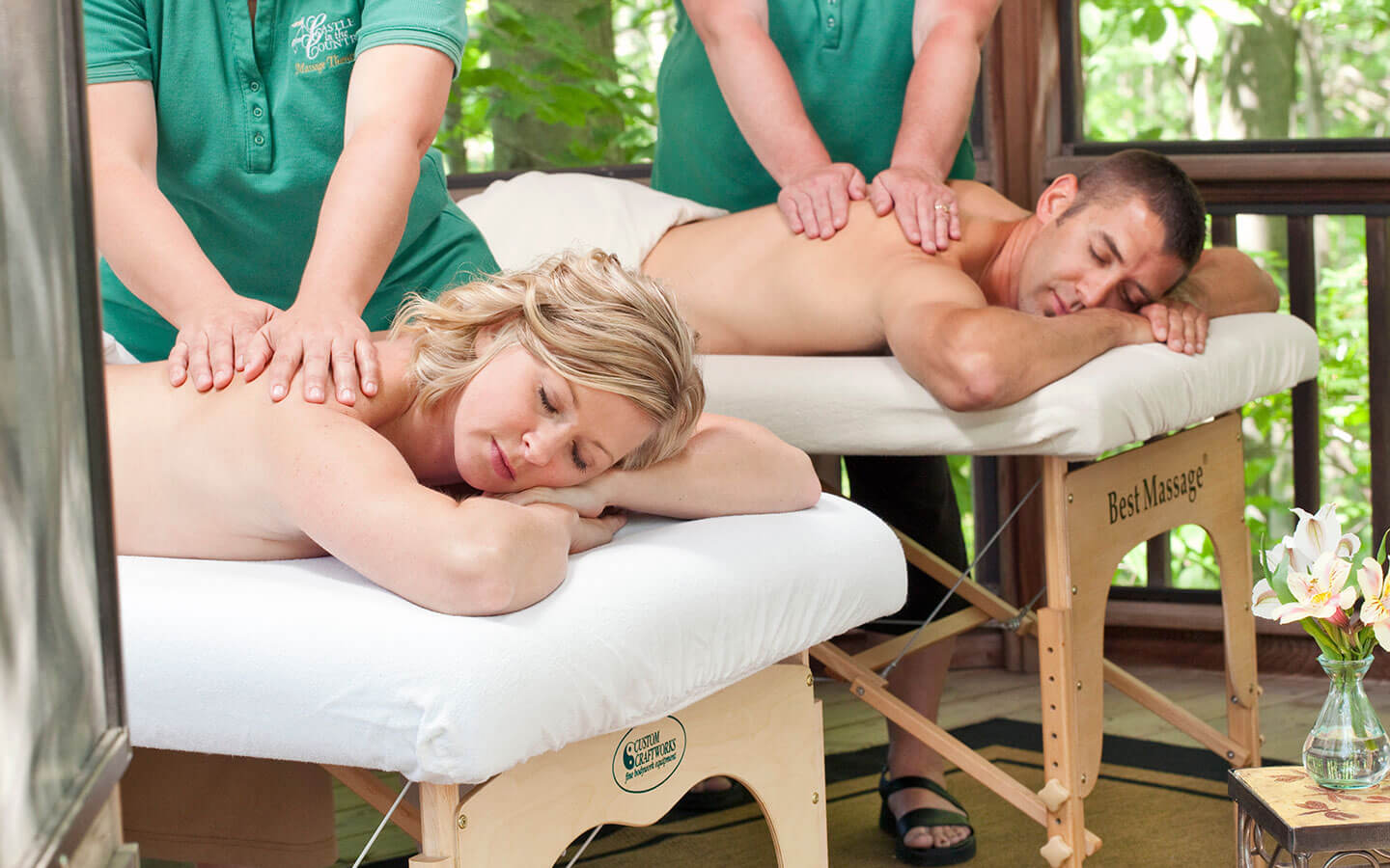 Couples Massage in Outdoor Gazebo at our Spa in Michigan