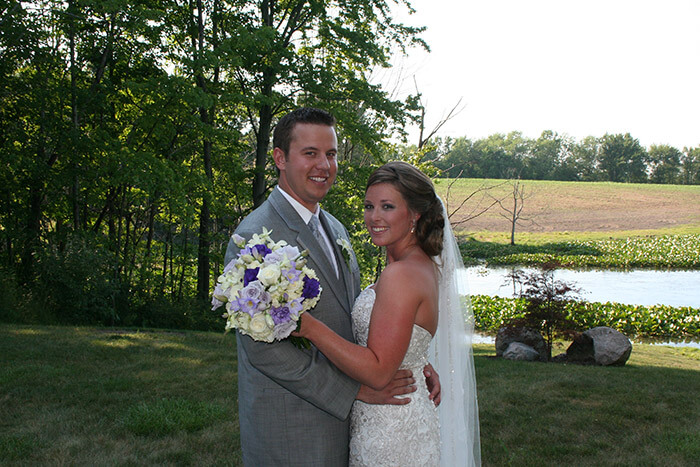 Bride and Groom in front of our pond