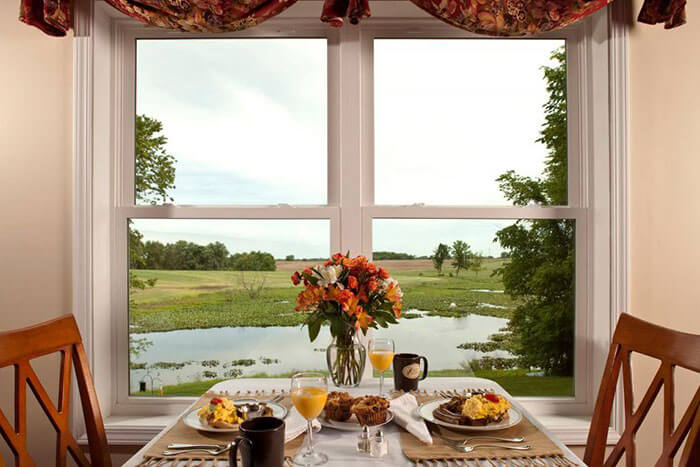 Breakfast table with a view