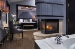 Whirlpool tub and fireplace in romantic Sir Lancelot Suite