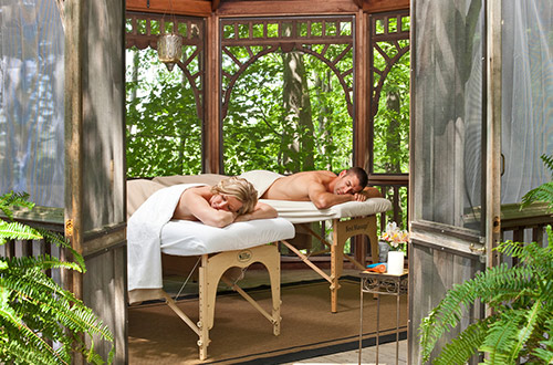 Honeymoon Couple's Massage in outdoor Gazebo