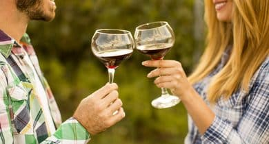 Couple enjoying wine tasting