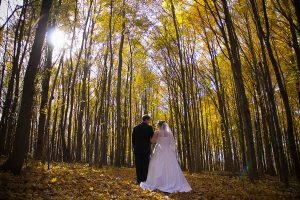 Bride and groom with fall trees in yellow backdrop