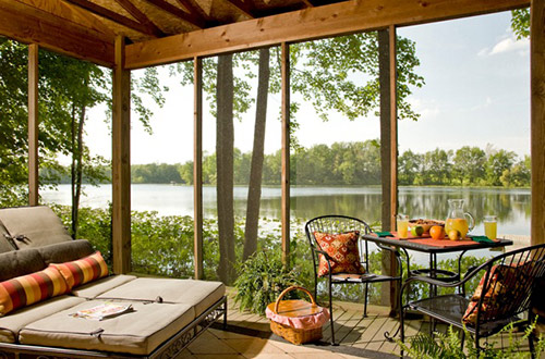 Screened Porch overlooking the Lake