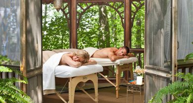 Couples massage in the private gazebo