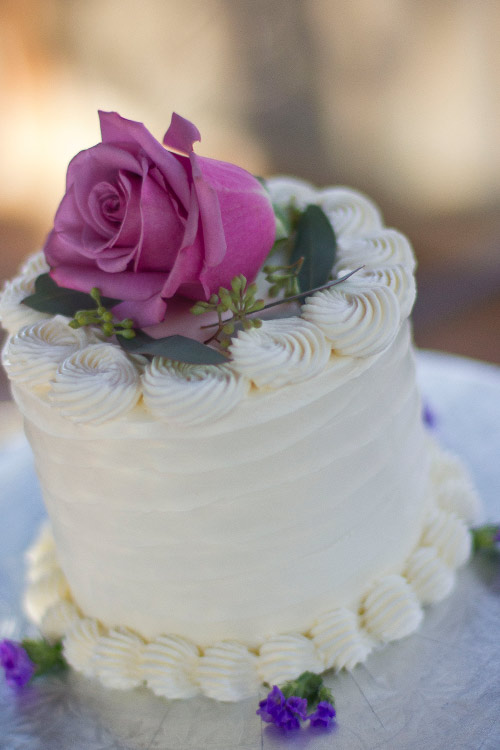 Wedding cake with rose flower at our southwest Michigan destination wedding venue