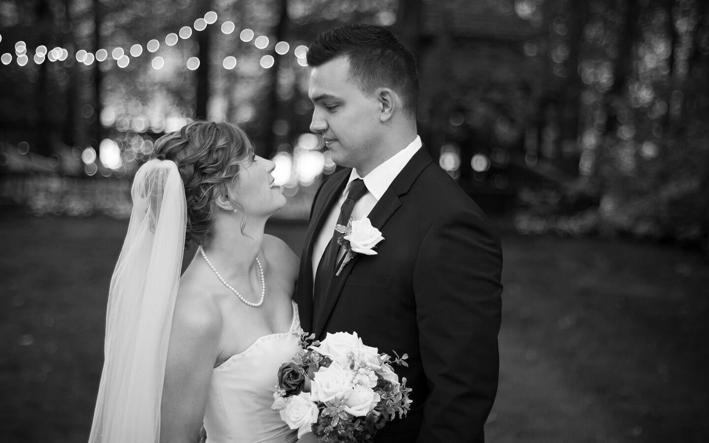 Michigan wedding, bride and groom in black and white