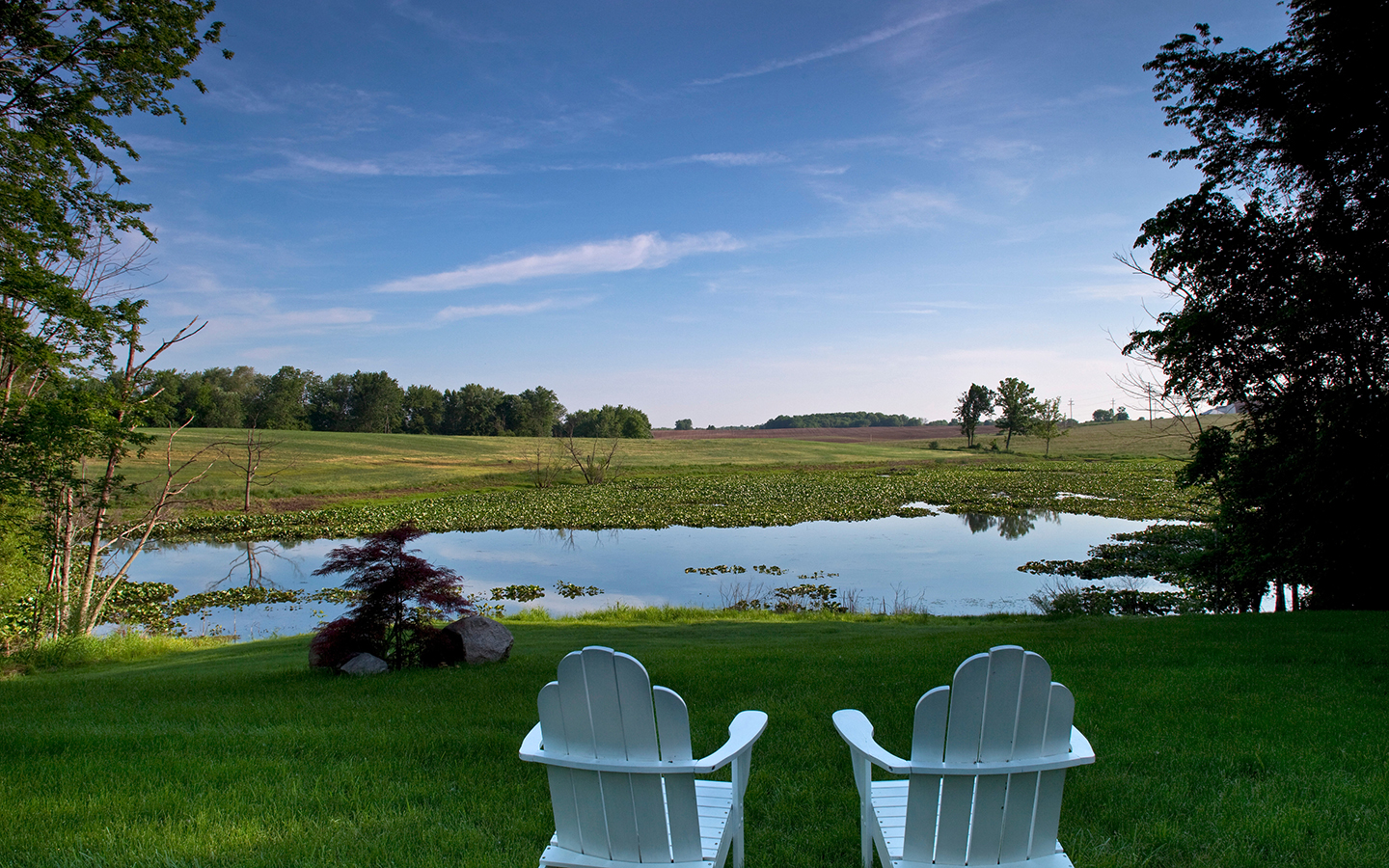 Two white lawn chairs overlooking a pond