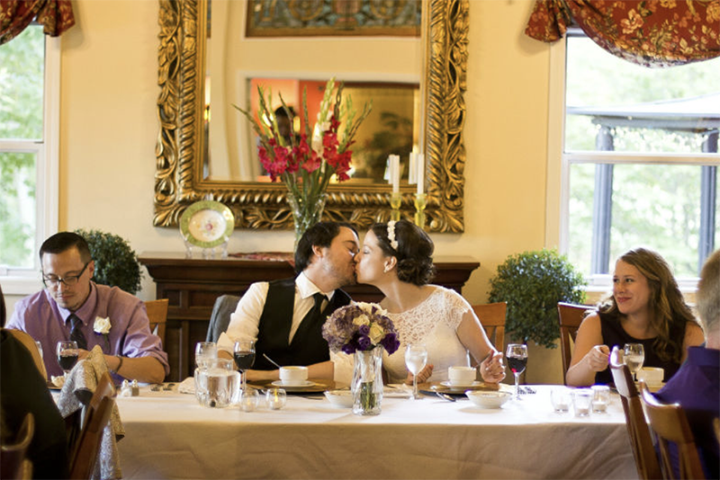 Wedding Kiss at reception