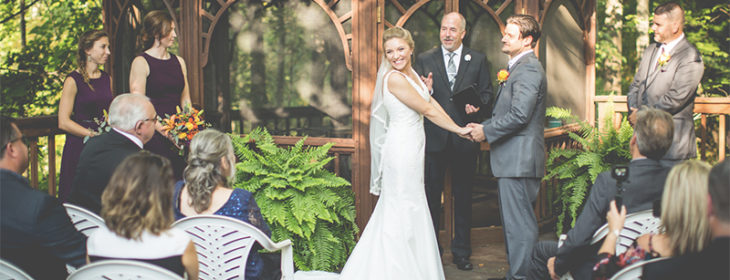 bride and groom at our gazebo during the ceremony