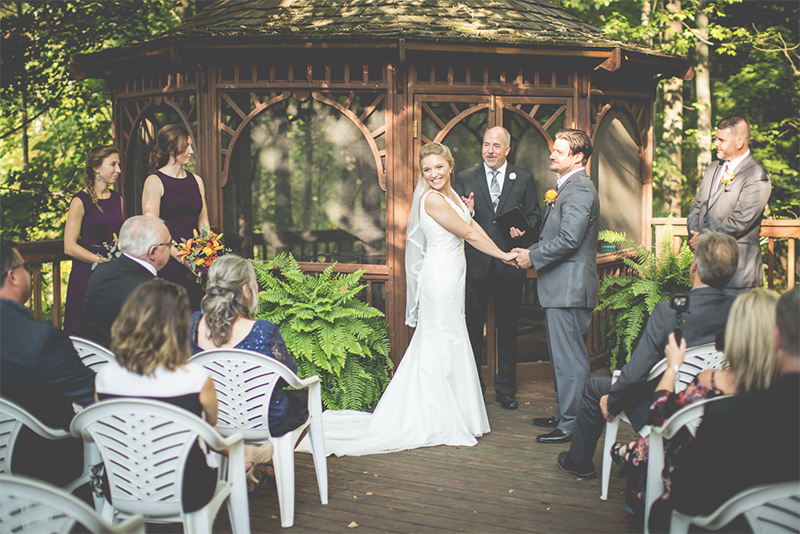 wedding ceremony in front of gazebo