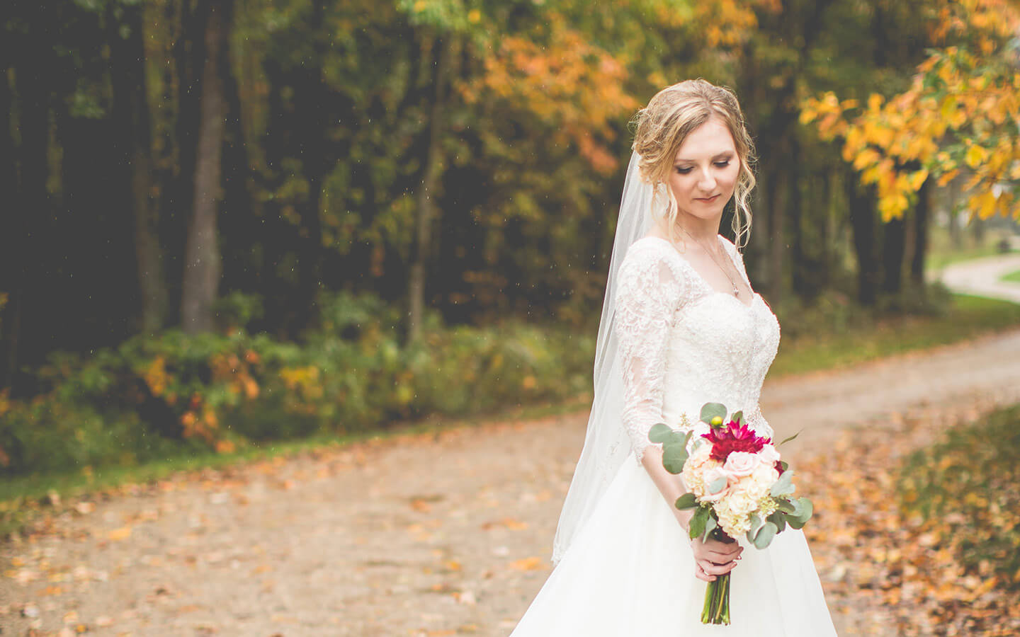 Michigan Wedding, bride on a fall country road