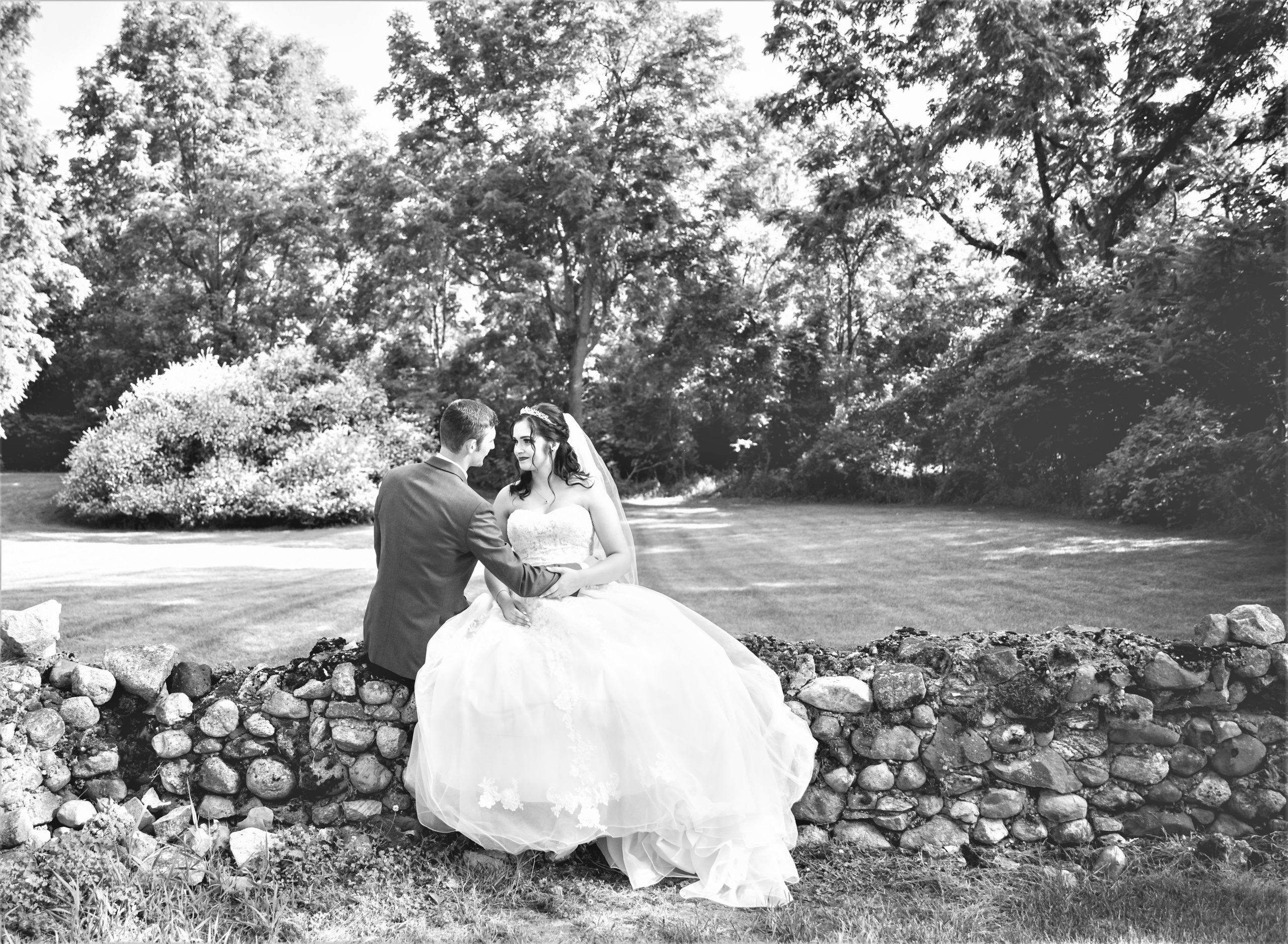 wedding couple sitting on rock wall and surrounded by a flowering willow bush and lush green grass