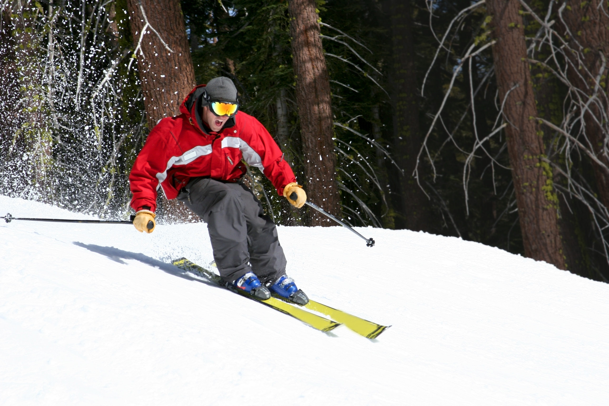 Man snow skiing downhill